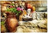 Pictorial courtyards of Greece — Stock Photo