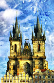 Prague cathedral - picture in painting style — Stock Photo