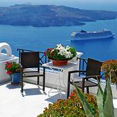 View of volcano - beautiful Thira town (Santorini) — Stock Photo