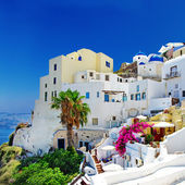 Romantik santorini, oia kasaba, yunan adası serisi — Stok fotoğraf