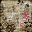 Retro background in grunge style with stars over newspaper - Stock Photo