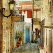 Old greek streets -artistic picture - Stock Photo