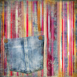 Striped vintage background with denim pocket — Stok fotoğraf