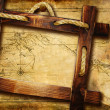 Adventure background with map and wooden frame — Stock Photo
