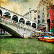 Colors of beautiful Venice - artwork in painting style - Rialto bridge - Stock Photo