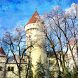 Beautiful winter castle - picture in painting style - Foto de Stock  