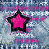 Retro tło z gwiazd na dżinsy tekstura — Zdjęcie stockowe