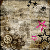 Retro background in grunge style with stars over newspaper — Stock Photo