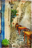 Traditional greek tavernas - artwork in painting style — Stock Photo