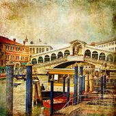Colors of romantic Venice- painting style series - Rialto bridge — Stock Photo
