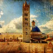 Great italian landmarks painted series -Siena cathedral - Stock Photo