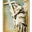 European landmarks- vintage cards- Roman sculpture — Stock Photo