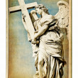 European landmarks- vintage cards- Roman sculpture - Stock Photo