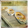 Landscape with boats - vintage styled picture — Stock Photo