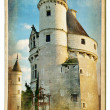 European landmarks - vintage cards- Chenonceau castle - Stock Photo
