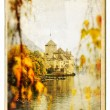 European landmarks series - castle Chillion - vintage card — Stock Photo