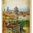 European landmarks series - vintage card- Florence - Stock Photo