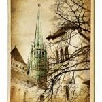 Постер, плакат: European landmarks vintage cards Geneva