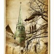 Stock Photo: Europelandmarks- vintage cards- Geneva