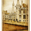 European landmarks series - vintage cards- Gent (Belgium) — Stock Photo