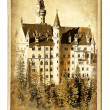 European landmarks- vintage cards- Neuschwanstein caste — Stock Photo