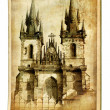 European landmarks- vintage cards- Prague cathedral - Stock Photo
