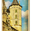 European landmarks series vintage cards - Saumur castle — Stock Photo