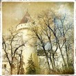 Fairy winter castle - retro styled picture — Stock Photo
