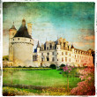 Castles of Loire valley- Chenonceau -retro series - Stock Photo