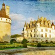 Chenonceau castle - artwork in painting style - ストック写真