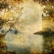 Swiss castle beside autumn lake- artistic vintage picture — Stock Photo