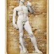 Vintage cards - European landmarks - David sculpture — Stock Photo