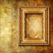 Golden background with frame — Stock Photo