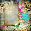 Grunge art - vintage paper with graffiti elements and frame — Stock Photo