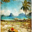 Tropical beach - artwork in painting style — Stock Photo