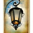Vintage cards series - old lantern - Stock Photo