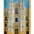European landmarks - vintage cards - Milan cathedral - Stock Photo