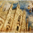 Milan cathedral - great italian landmarks vintage series - Stock Photo