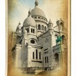 European landmarks- vintage cards-Paris (Montmartre cathedral) — Stock Photo
