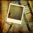 Artistic background with instant frame and film strips - Zdjęcie stockowe