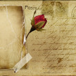 Vintage romantic post card with blank frame and rose — 图库照片