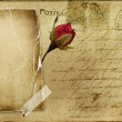 Royalty-Free Stock Photo: Vintage romantic post card with blank frame and rose