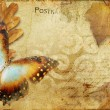 Royalty-Free Stock Photo: Vintage autumn card with leaves and butterfly