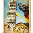 Stock Photo: Vintage cards - Europelandmarks - Pisa