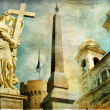 Rome - Spanish steps - artistic collage in painting style - Stock Photo