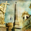 Royalty-Free Stock Photo: Rome - Spanish steps - artistic collage in painting style