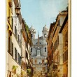 European landmarks- vintage cards- Rome (Spanish steps) - Stock Photo