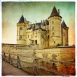 Saumur castle - artistic retro picture - Stock Photo