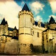 Medieval castle Saumur - artistic retro style picture - Stock Photo