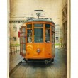 European places - vintage cards - trams in Milan — Stock Photo